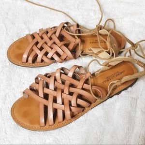 AEO Tie Ankle Strap Sandal Size 9 Good Condition